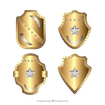 Pack of golden star shields