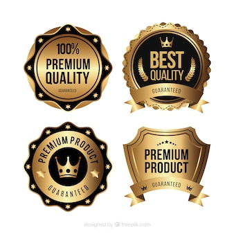 Pack of golden stickers in vintage style