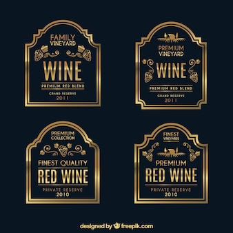 Pack of golden wine stickers