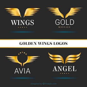 Pack of golden wings logotype