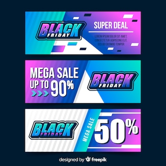 Pack of gradient black friday banners