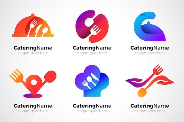 Pack of gradient catering logos