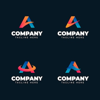 Pack of gradient a logo templates