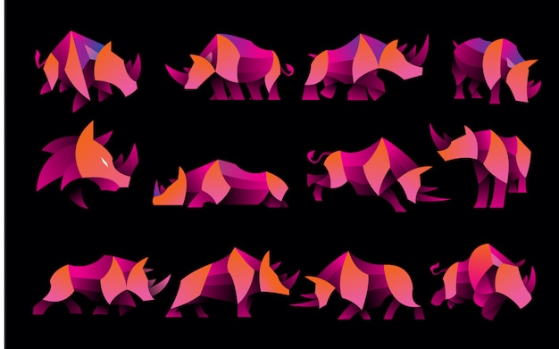 Pack of gradient rhino logo