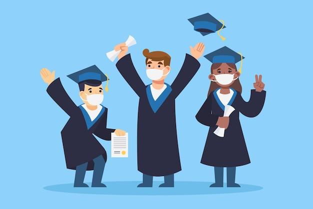 Confezione di laureati che indossano maschere mediche