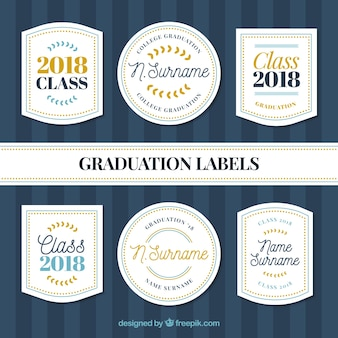 Pack graduation label collection with flat design