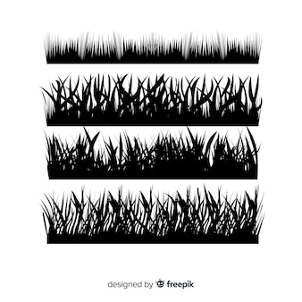 Pack of grass border silhouettes