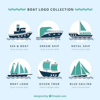 Pack of great logos with boats in flat design