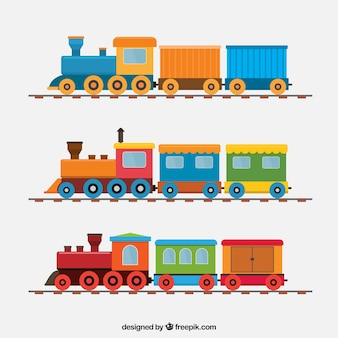 Pack of great trains in flat design