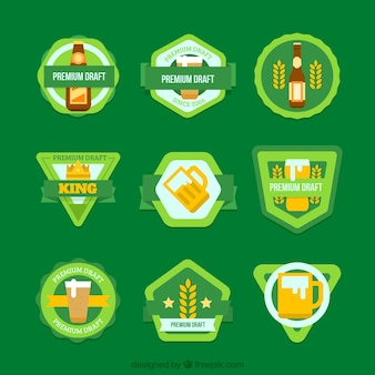 Confezione di badge birra verdi
