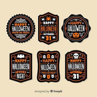 Pack of halloween badges Free Vector