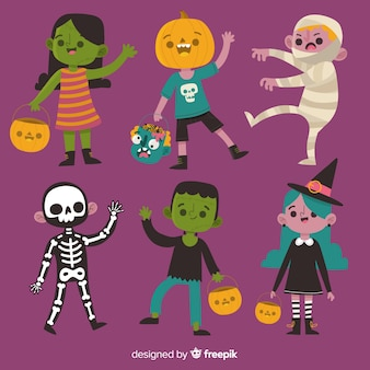 Pack of halloween characters in cartoon style