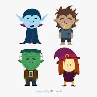 Pack of halloween characters flat design
