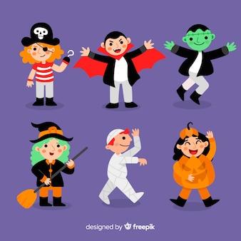 Pack of halloween disguised children