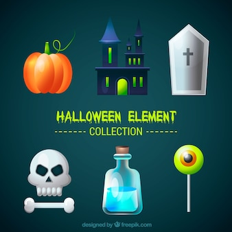 Pack of halloween elements with castle and skull