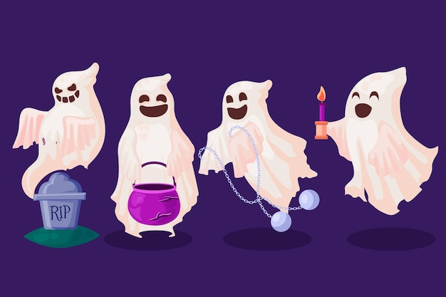 Pack of halloween ghosts in flat design
