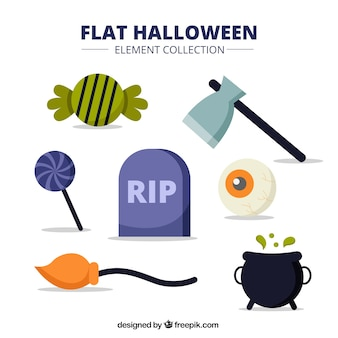 Pack of halloween items in style flat