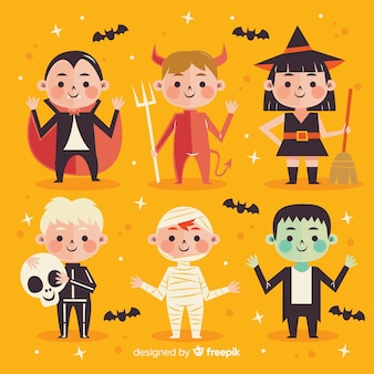 Pack of halloween kids characters