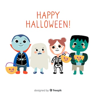 Pack of halloween kids