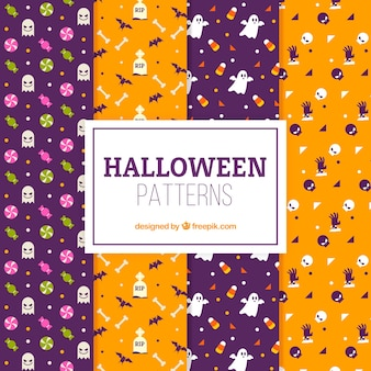 Pack of halloween patterns in flat design
