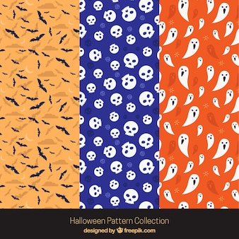 Pack halloween patterns with skulls and other elements