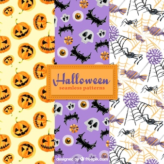 pack halloween patterns with watercolor elements