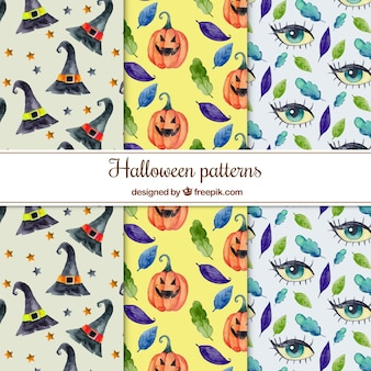 Pack of halloween watercolor patterns