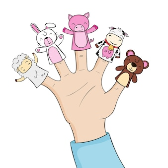 Pack of hand drawn adorable finger puppets