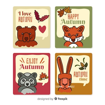 Pack of hand drawn autumn cards
