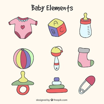 Pack of hand-drawn baby elements with different colors