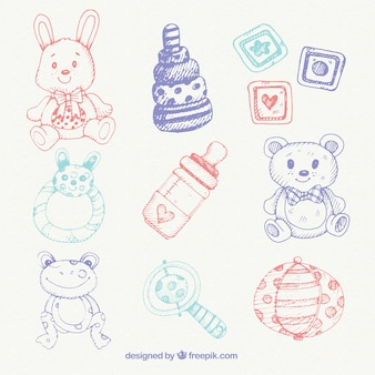Pack of hand drawn baby items