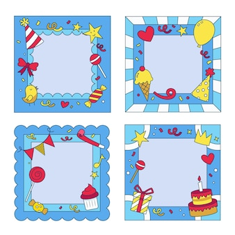Pack of hand-drawn birthday collage frames