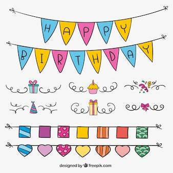 Confezione da ghirlande di compleanno disegnati a mano