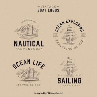 Pack of hand drawn boat logos in vintage