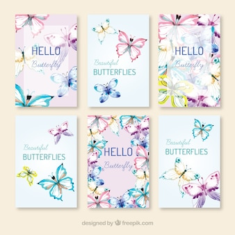 Pack of hand-drawn butterflies cards