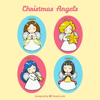 Pack of hand-drawn christmas angels