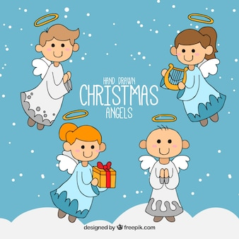 Pack of hand drawn christmas angels
