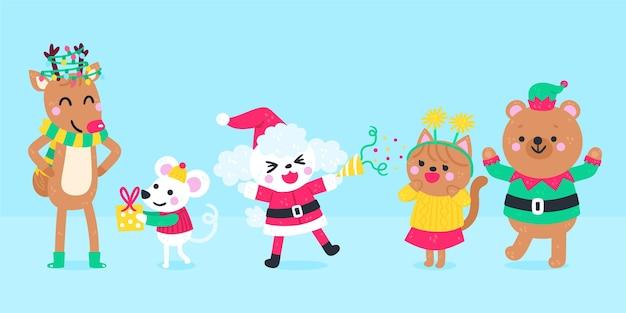 Confezione di personaggi natalizi disegnati a mano