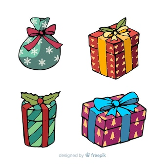 Pack of hand drawn christmas gifts