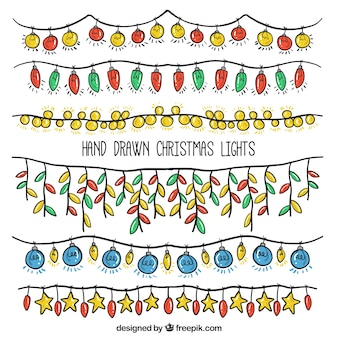 Pack of hand drawn christmas lights