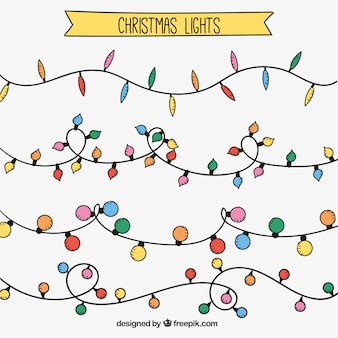 Pack of hand drawn christmas string lights