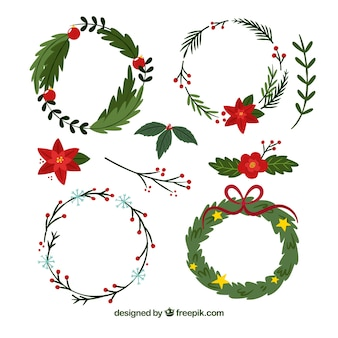 Pack of hand-drawn christmas wreaths