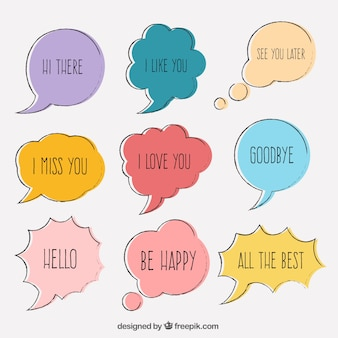Pack of hand drawn colored speech bubbles with phrases