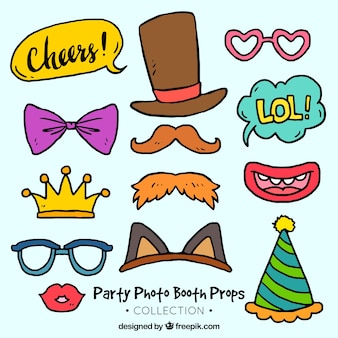 Pack of hand drawn costume party accessories