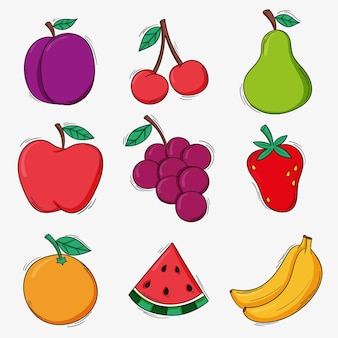 Pack of hand drawn delicious fruits