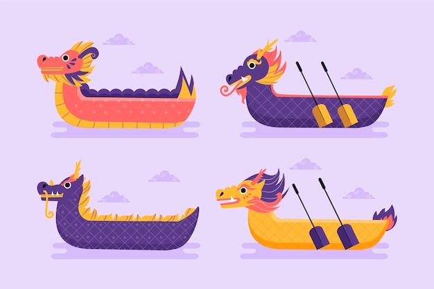 Confezione di barche drago disegnate a mano