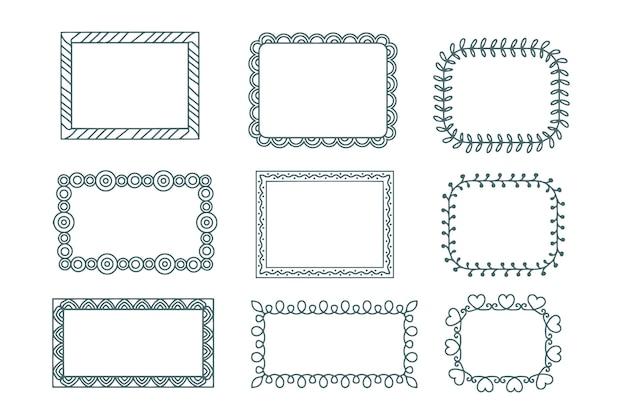Confezione da eleganti cornici ornamentali disegnate a mano