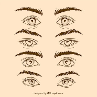 Pack of hand drawn eyes and eyebrows in realistic style