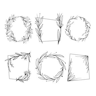 Confezione di cornici floreali disegnate a mano