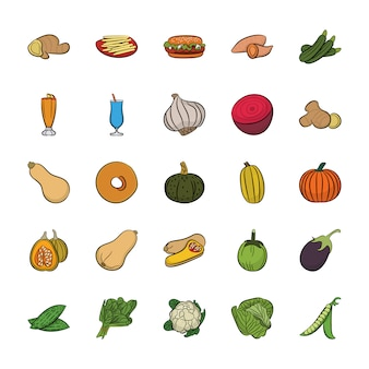 Pack of hand drawn food icons vectors